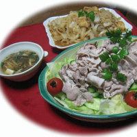 自家菜園の新玉ねぎ・・・豚肩ロース肉の冷しゃぶサラダ