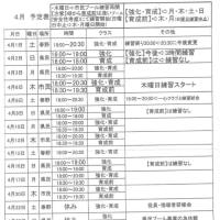 4月の練習予定表