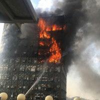 イラン首都テヘランの高層ビル、火災後に崩壊。