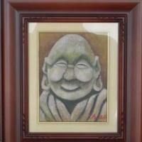 「満ち足りた笑顔」[油彩Fー3号)