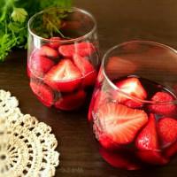 苺の赤ワイン漬け