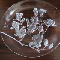 ガラス作品: 「もくれん」の透きガラス皿