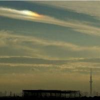 「幻日を撮影中に写りこんだ不思議な虹」と「夕焼け」