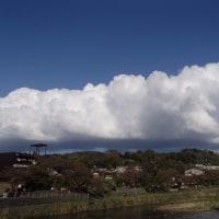 下側がグレーの白い雲。風が強い分、空気がきれいです。