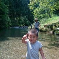 8月11日 孫を連れて那比川で水遊びと渓流釣り!