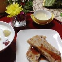 台湾料理部第18回 ☆腊味蘿卜糕(大根餅)・紅豆薑撞奶 (小豆生姜ミルク)