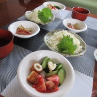 お昼 素麺  夜 質素な外食