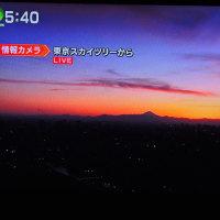 2/22 森田さんの 夕焼け 突き当りに富士山