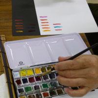 画材研究「透明水彩」の様子