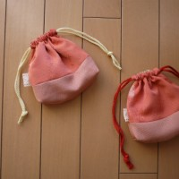和布からマチ付の巾着 ふたつ