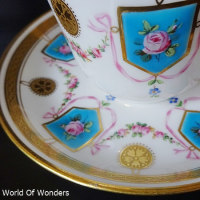イギリス製 ミントン 1850's ハードペイスト カップ&ソーサー(ブルーエナメル)