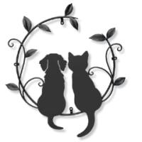 子犬(ミニチュア・ダックス)ちゃん×子猫ちゃん×ツタ×葉っぱの妻飾り