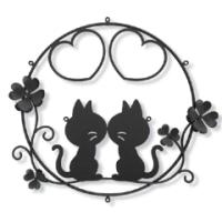 猫さん夫婦×ハート×クローバーのキュートな妻飾り