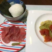 4/25(火)夕食(キャベツとひき肉の重ね煮)。