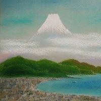 駿河湾と富士山をパステルで描きました。