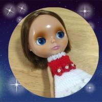 手編みフリルワンピクリスマスバージョンのサンプル