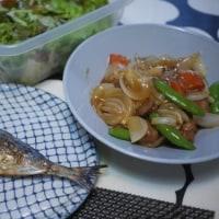 アジの塩焼き、酢豚、シーザーサラダ