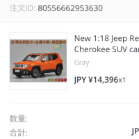 My Jeep® Renegade 1/18 ダイキャストモデル