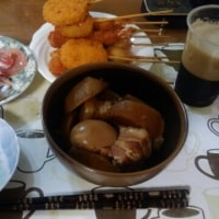 4月23日夕 豚の角煮、串揚げ