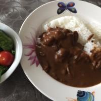 6/24(土)夕食(カレー、サラダ)。
