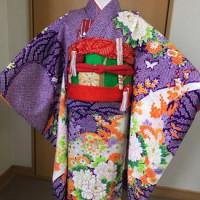 七歳女児着付けの練習、帯は小菊結び