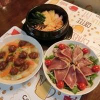 鍋焼きうどん&シャーロウワンズ白菜炒め&炙りマグロサラダ