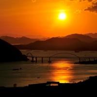 本日の夕日&夕焼け(福山グリーンライン)