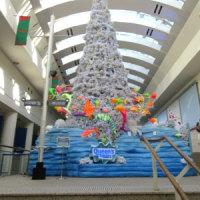 ランドマークプラザのクリスマスツリーと赤レンガ倉庫