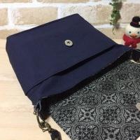 紺色の帆布でショルダーバッグ、完成〜〜!