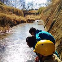 川が凍ったよ