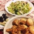 2017年7月26日   手羽元の酢醤油煮   レタス・ワカメ・大葉・みょうがのサラダ   焼うどん
