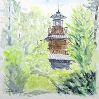 船橋大神宮の灯明台があります (スケッチ)
