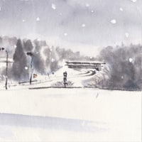 墨彩・1 雪の「高速ひるが高原」
