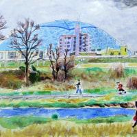 矢田川ー名古屋球場ドームが見える
