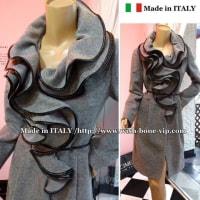 【イタリア製 RINASCIMENTO coat/リナシメント】たっぷりフレアえり&ウール混 切り替えAライン コート/グレー