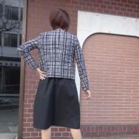 【着用写真を追加しました】PUPULAププラ☆プリントチェック柄ノーカラージャケット☆