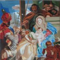 模写「東方三博士の礼拝」(F10号、油彩)