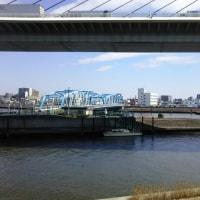 上平井水門へ行く。