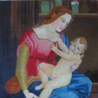 模写「オルレアンの聖母」(F10号、油彩)