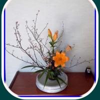 高梁川の河川敷の風景と生け花