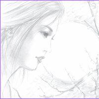 美人画「月と花と」