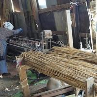 渡良瀬遊水地のヨシを編む