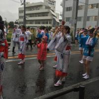 谷山ふるさとまつりが雨の中を踊り連は頑張ってます!
