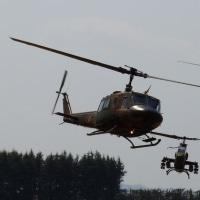 霞目で防災関係機関のヘリコプター合同訓練