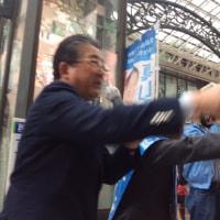 徳光和夫が原発ゼロの真山勇一応援演説を横浜駅で行うサプライズ!二人は日テレ夕方ニュース元キャスター。