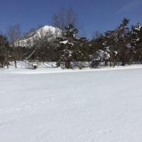 雪原の足あと 磐梯山麓
