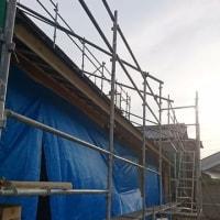 総社市久代での住宅リノベーション工事現場の外装下地工事