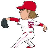 ヘーゲンズ投手の似顔絵。
