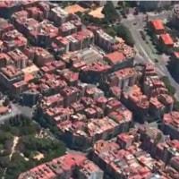 空から見るガウディ、マップでフライオーバー、バルセロナへお出かけ
