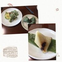 山菜の天婦羅できました。ちまきは中国のものです。いただきます。